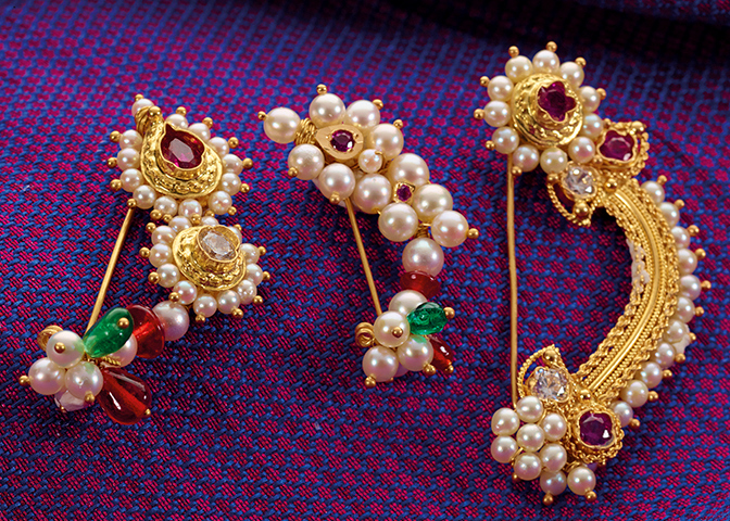 Gold Maharashtrian Nath Designs Nose Ring Peshwai Nath Png Sons