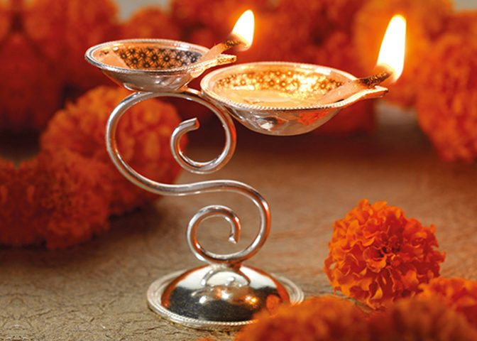 Silver plated gift items - Twin Pooja Diva with stand